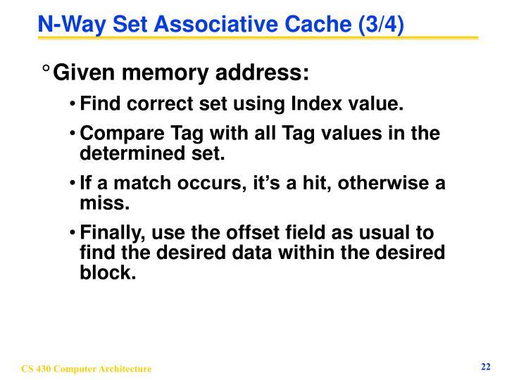 N-Way Set Associative Cache (3/4)