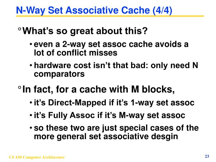 N-Way Set Associative Cache (4/4)