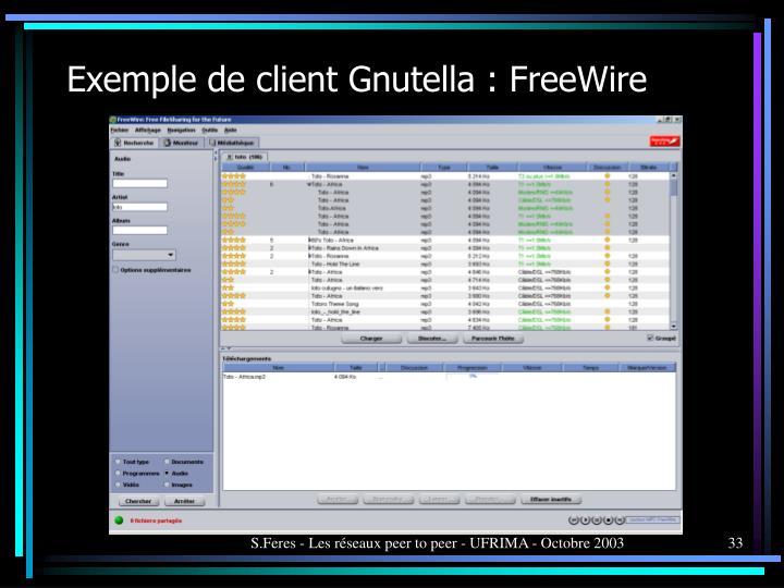 Exemple de client Gnutella : FreeWire