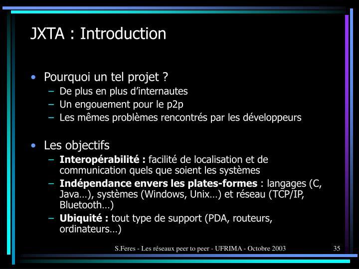 JXTA : Introduction