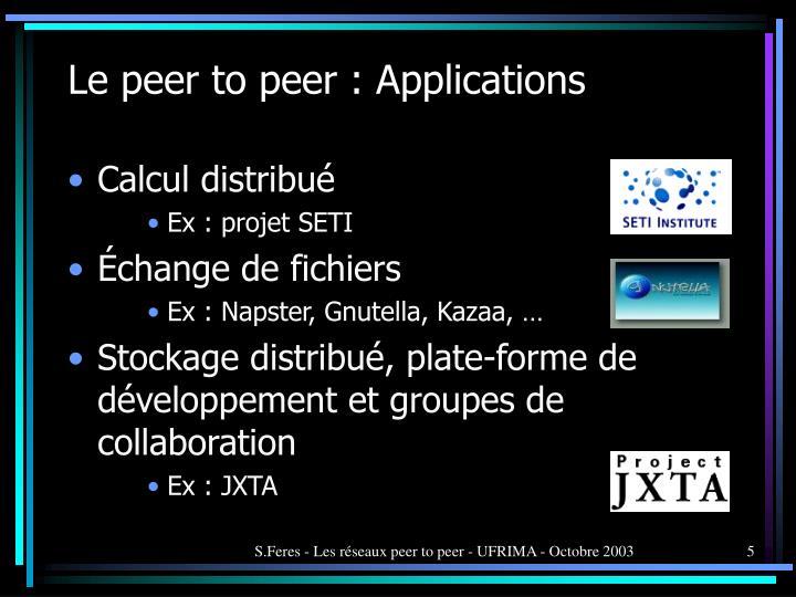 Le peer to peer : Applications