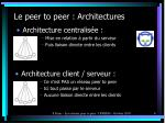 le peer to peer architectures