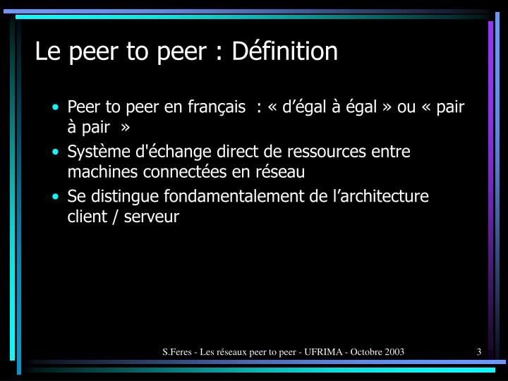 Le peer to peer d finition