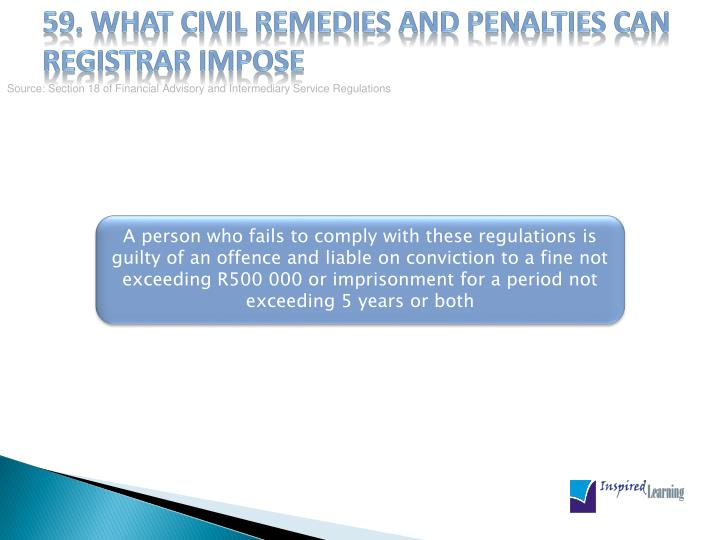 59. What civil remedies and penalties can registrar impose
