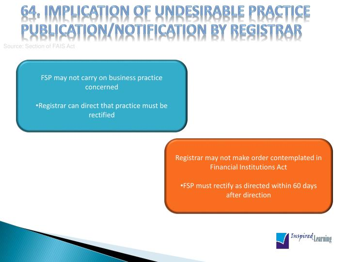 64. Implication of undesirable practice publication/notification by Registrar