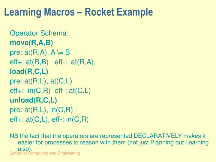Learning Macros – Rocket Example