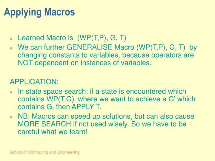 Applying Macros