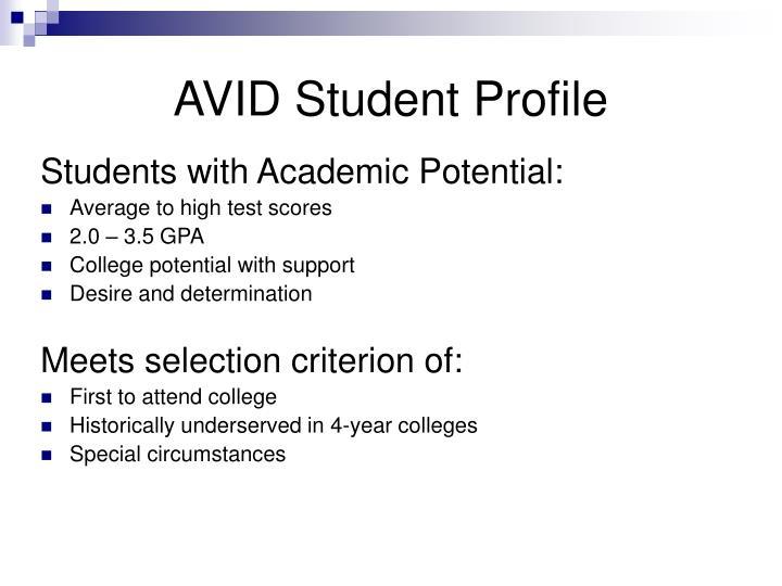AVID Student Profile