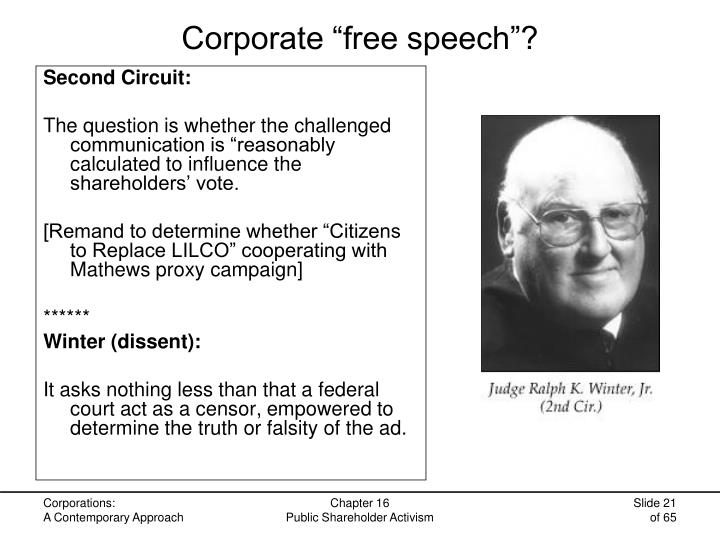 "Corporate ""free speech""?"
