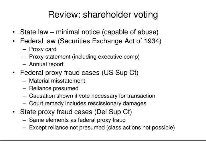 Review: shareholder voting
