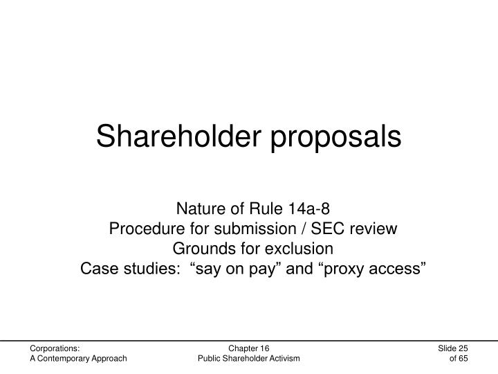 Shareholder proposals