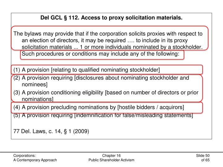 Del GCL § 112. Access to proxy solicitation materials.