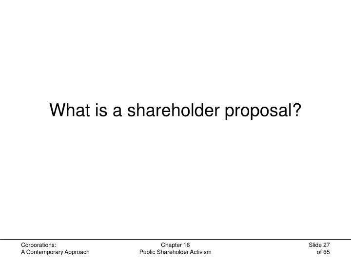 What is a shareholder proposal?