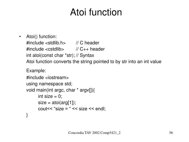 Atoi function
