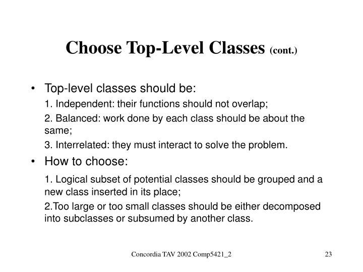 Choose Top-Level Classes