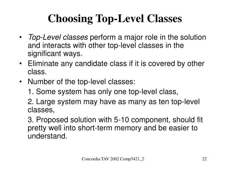 Choosing Top-Level Classes