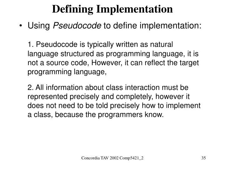 Defining Implementation