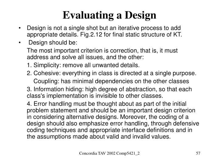 Evaluating a Design