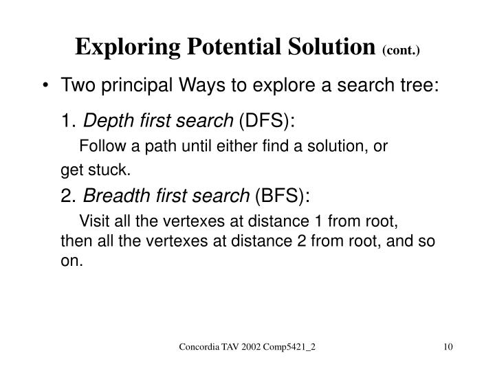 Exploring Potential Solution