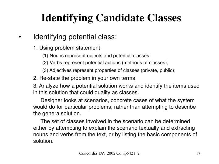 Identifying Candidate Classes