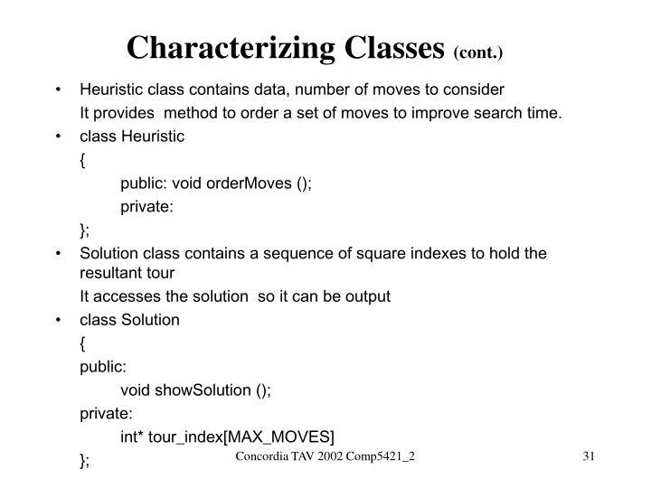 Characterizing Classes