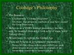 coolidge s philosophy