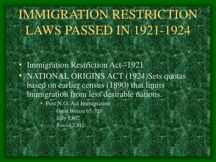 IMMIGRATION RESTRICTION LAWS PASSED IN 1921-1924