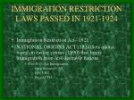 immigration restriction laws passed in 1921 1924