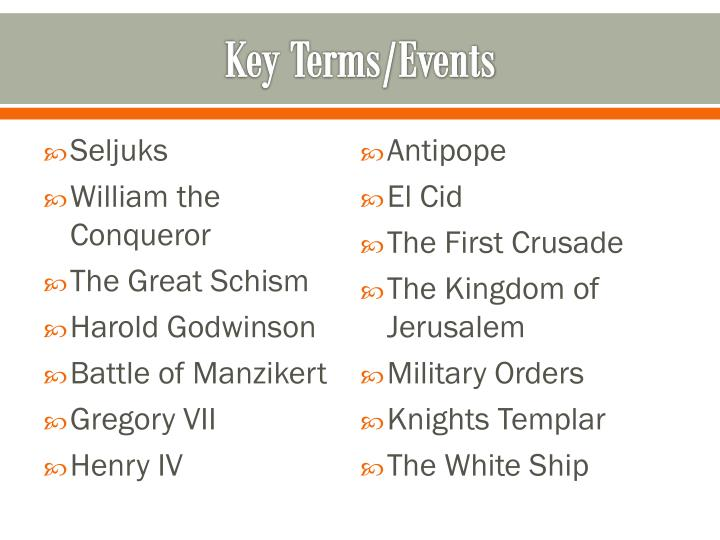 Key Terms/Events