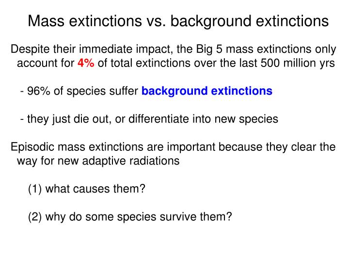 Mass extinctions vs. background extinctions