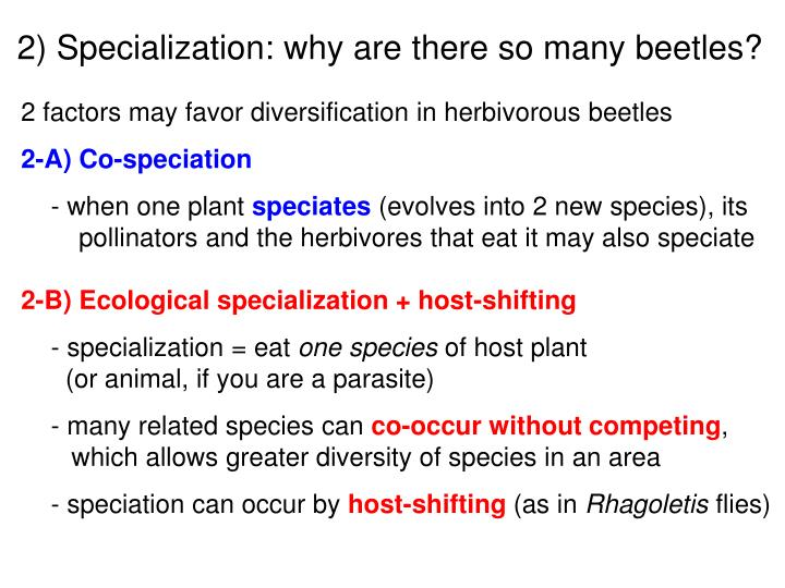 2) Specialization: why are there so many beetles?