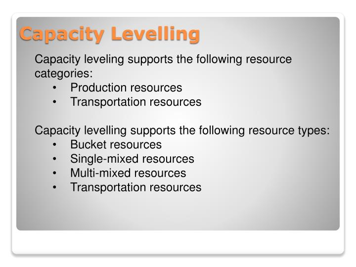 Capacity leveling supports the following resource categories: