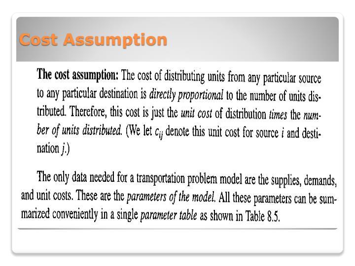 Cost Assumption