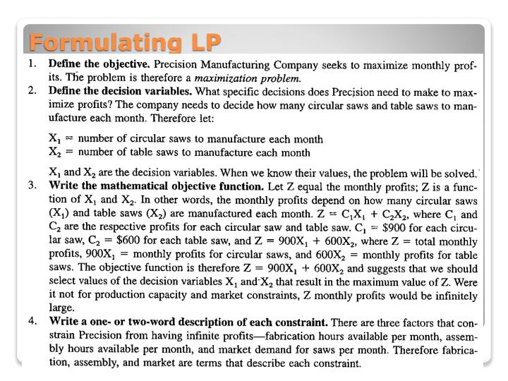 Formulating LP