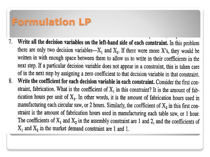 Formulation LP
