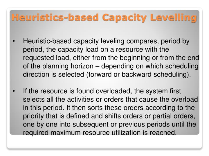 Heuristic-based capacity leveling compares, period by period, the capacity load on a resource with the requested load, either from the beginning or from the end of the planning horizon – depending on which scheduling direction is selected (forward or backward scheduling).