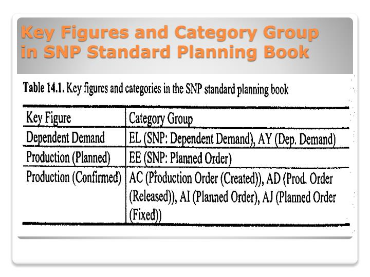Key Figures and Category Group in SNP Standard Planning Book