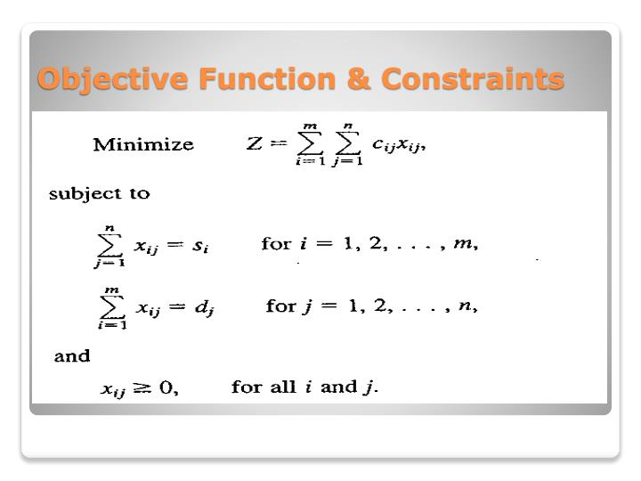 Objective Function & Constraints