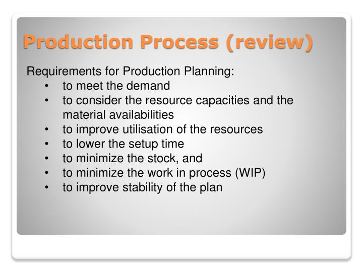 Requirements for Production Planning:
