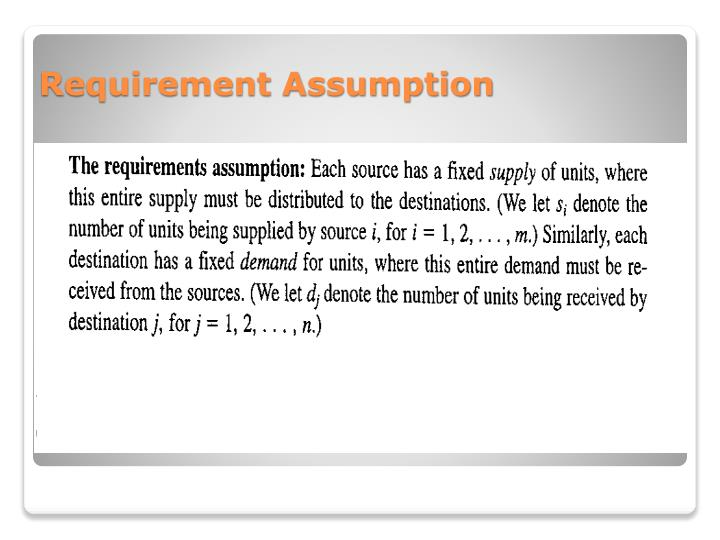 Requirement Assumption
