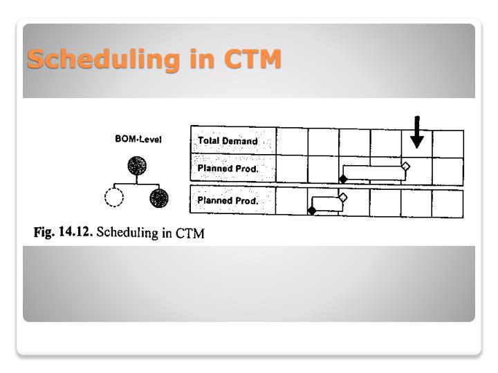 Scheduling in CTM