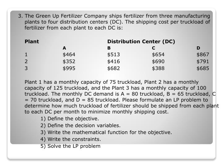 3. The Green Up Fertilizer Company ships fertilizer from three manufacturing plants to four distribution centers (DC). The shipping cost per truckload of fertilizer from each plant to each DC is:
