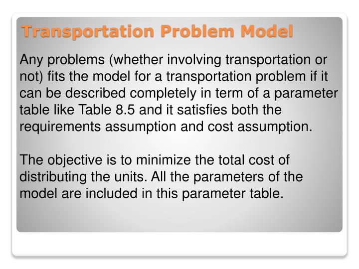 Any problems (whether involving transportation or not) fits the model for a transportation problem if it can be described completely in term of a parameter table like Table 8.5 and it satisfies both the requirements assumption and cost assumption.