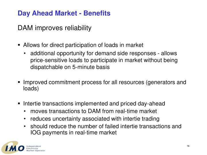 Day Ahead Market - Benefits
