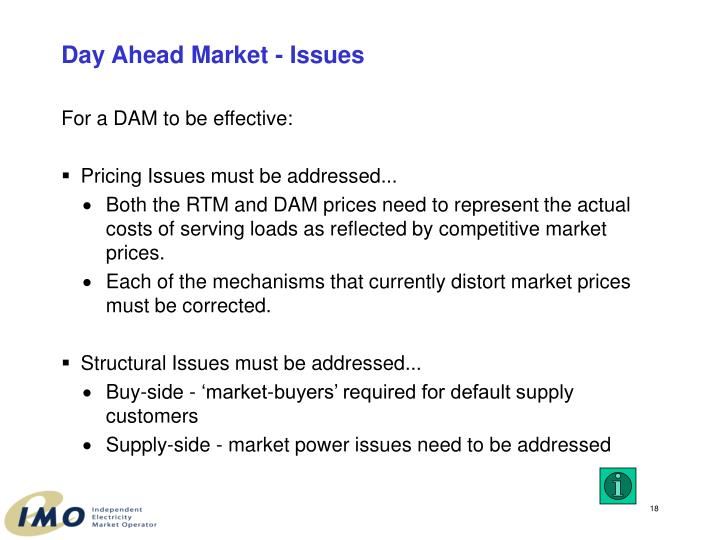 Day Ahead Market - Issues