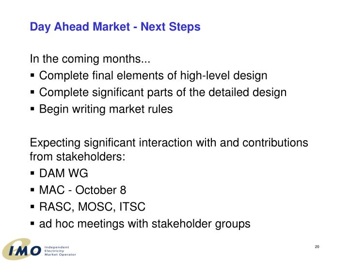 Day Ahead Market - Next Steps