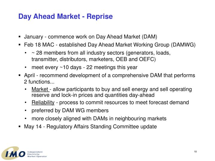 Day Ahead Market - Reprise