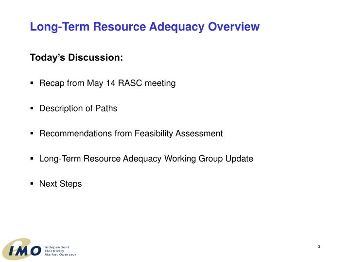 Long term resource adequacy overview