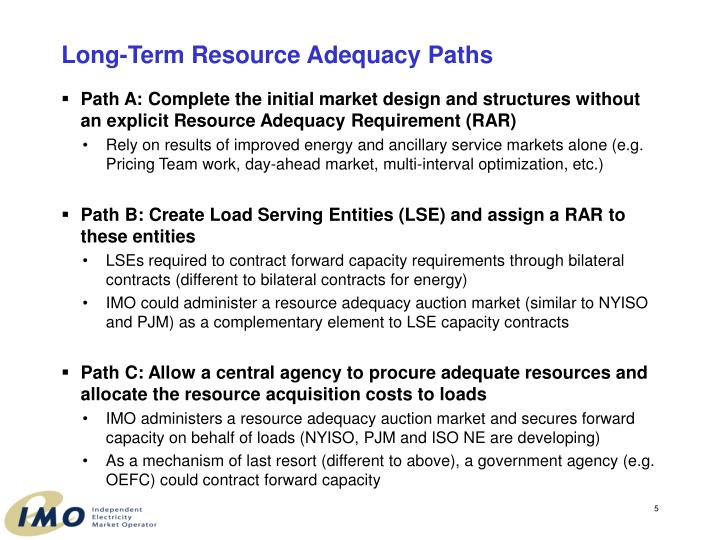 Long-Term Resource Adequacy Paths