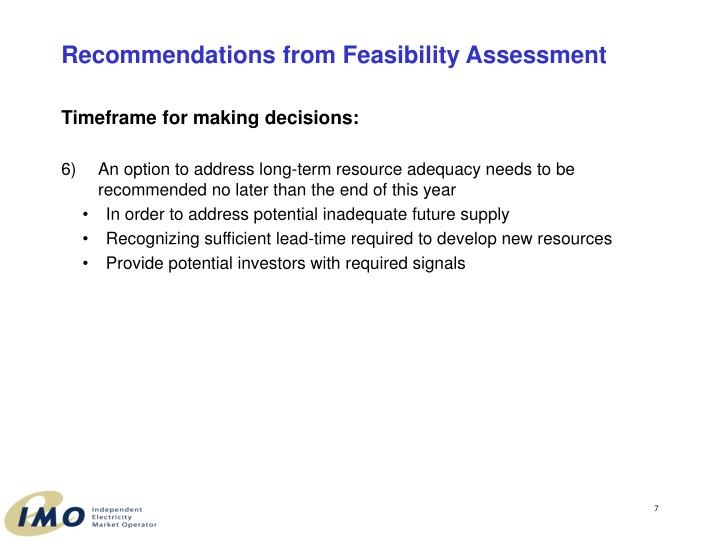 Recommendations from Feasibility Assessment